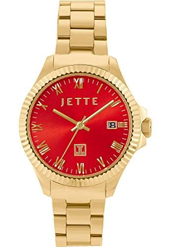 JETTE Time Damen-Armbanduhr Analog Quarz One Size, rot, goldrot