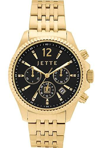 JETTE Time Damen-Armbanduhr Analog Quarz One Size, schwarz, gold