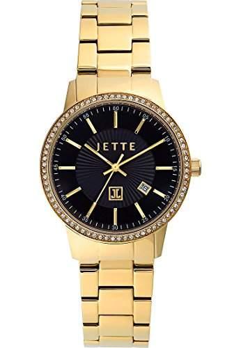 JETTE TIME Damen-Armbanduhr Analog Quarz One Size, schwarz, goldschwarz