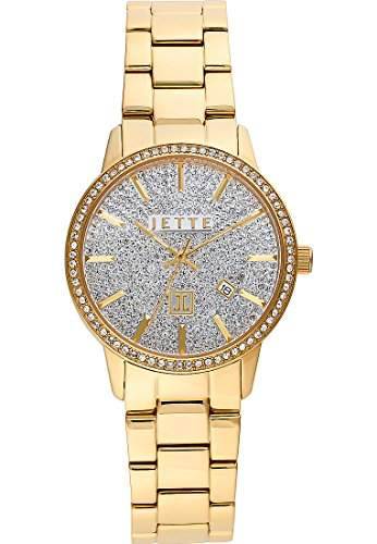 JETTE Time Damen-Armbanduhr Analog Quarz One Size, weiss, gold