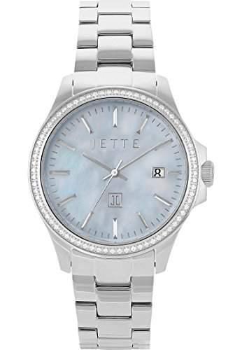 JETTE Time Damen-Armbanduhr Analog Quarz One Size, perlmuttblau, silber