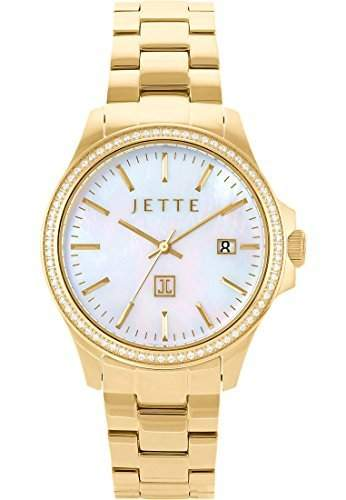 JETTE Time Damen-Armbanduhr Analog Quarz One Size, perlmutt, gold