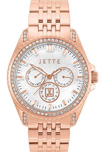 JETTE Time Damen Armbanduhr Existence Edelstahl Swarovski Kristall Analog Quarz One Size perlmutt rose