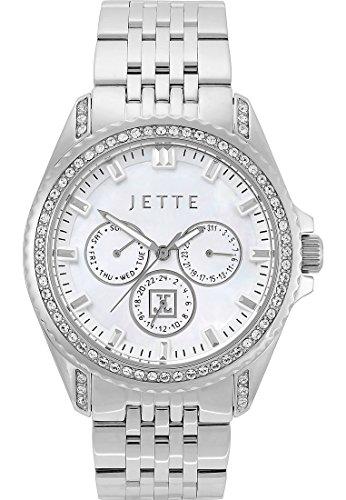 JETTE Time Existence Edelstahl mit Swarovski Kristall Analog Quarz One Size perlmutt silber