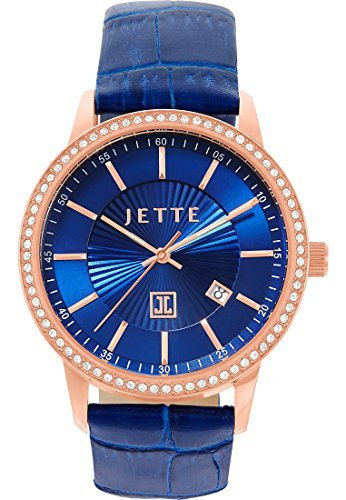 JETTE Time REFLECTION Edelstahl Leder Analog Quarz One Size blau blau