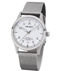 POP PILOT Fliegeruhr CUZ I I waterproof I Silber I 36 5mm