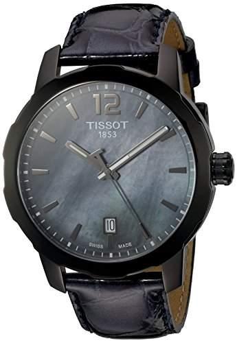 Tissot Damen-Armbanduhr Armband Leder Schwarz Gehaeuse Edelstahl Quarz Zifferblatt Perlmutt T0954103612700