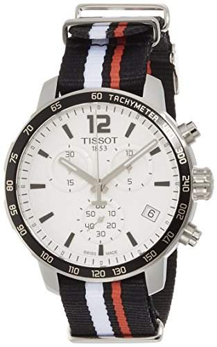 Tissot Herren-Armbanduhr Armband Nylon Weiss Gehaeuse Edelstahl Schweizer Quarz Chronograph T0954171703701