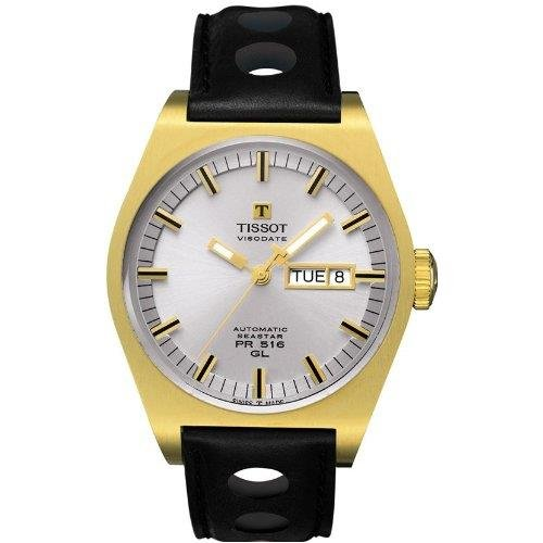 Tissot Herren 40mm Automatikwerk Schwarz Leder Armband Datum Uhr T0714303603100