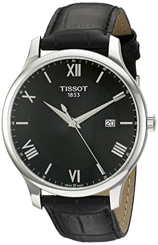 Tissot 42mm Armband Leder Schwarz Gehaeuse Edelstahl Quarz Analog T0636101605800