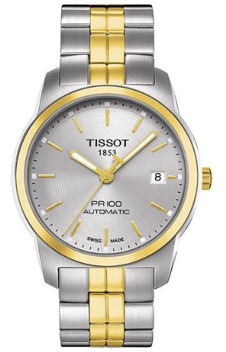 Tissot Herren Armbanduhr 38mm Armband Edelstahl Gold Gehaeuse Automatik Zifferblatt Silber T0494072203100