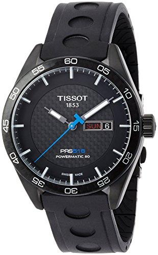 Tissot Herren Armbanduhr 42mm Armband Kautschuk Schwarz Gehaeuse Edelstahl Automatik T1004303720100
