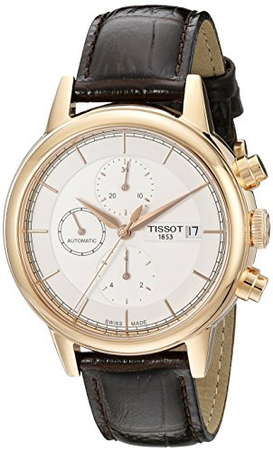 Tissot Herren t0854273601100 Carson Swiss Automatik Uhr mit Braun Leder Band