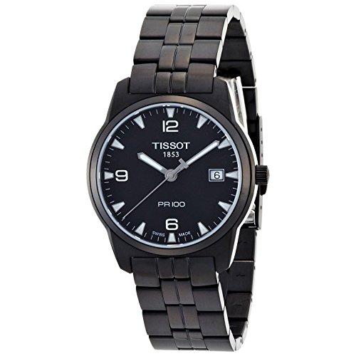 Tissot Herren 38 mm schwarz Stahl Armband und Fall Anti Reflektierende Saphir SWISS Quarz Armbanduhr t0494103305700