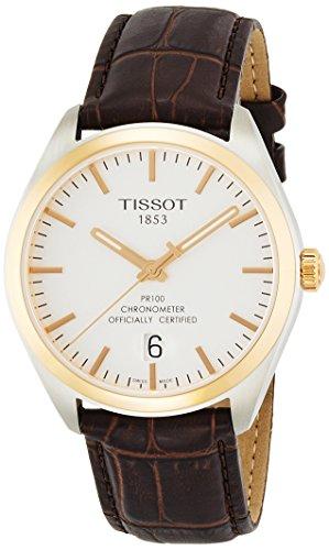 Tissot T Classic PR 100 42mm Armband Leder Braun Schweizer Quarz T101 451 26 031 00