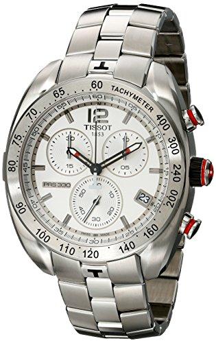 TISSOT T076 417 11 037 00 Chronograph Uhr Edelstahl 100m Analog Chrono Datum silber