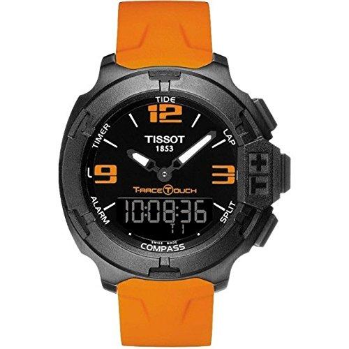Tissot t081 420 97 057 02 T Race Touch schwarz Luenette orange Strap Herren Armbanduhr