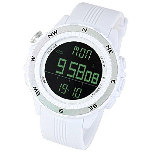 LAD WEATHER Deutscher Sensor Digitaler Kompass Hoehenmesser Barometer Chronograph Wettervorhersage Outdoor Sportuhr Bergsteigen Laufen lad004 wh