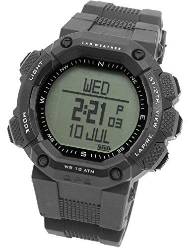 LAD WEATHER GPS Uhr Herzfrequenz Brustgurt USB Kabel Digitaler Kompass Hoehenmesser Navigation Pulsmesser Kalorienzaehler Sportuhr Armbanduhren