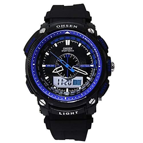 Foxnovo Ohsen AD1209 Herren Wasserdicht Sport Digital Quarz Uhren mit Datum Alarm Stoppuhr blau