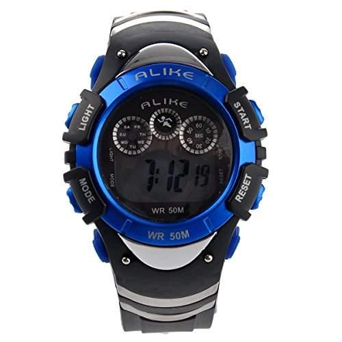 Foxnovo A5106 50M wasserdicht Studenten Sport LED Digital Armbanduhr mit Datum Alarm Stoppuhr LED Licht blau