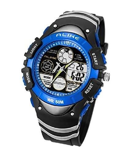 Foxnovo GLEICHERMAssEN A5114 50M wasserdicht, Sport LED Digital Quarz Armbanduhr mit Datum Alarm Stoppuhr blau