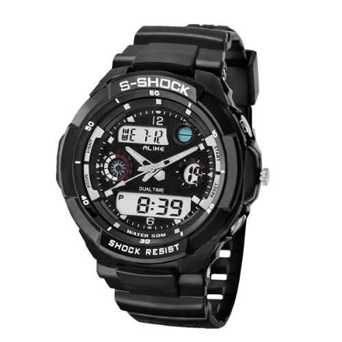 FOXNOVO Alike Gleichermassen AK1170 50M wasserdicht Dual-Time Herren Sport Digital Quarz Armbanduhr mit Datum-Alarm-Timer schwarz