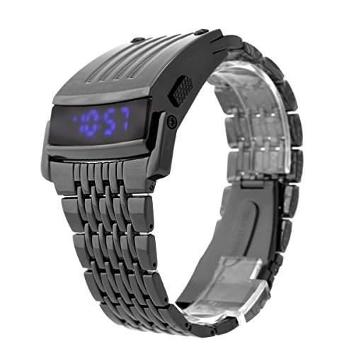 Foxnovo HZ467 Cool Wasserdichte Herren Legierung Band Blaue LED-Anzeige Digitale Armbanduhr Mit Datum Schwarz