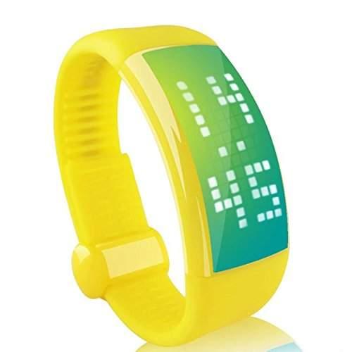 Foxnovo 8GB Mode Unisex USB Flash Drive Smart 3D Schrittzaehler Calorie Counter LED Armbanduhr mit Signatur-Funktion gelb