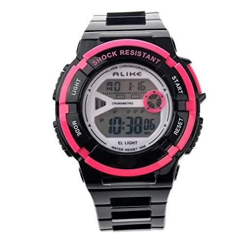 Foxnovo Gleichermassen A14103 wasserdichte Studenten Kinder Digital LED Sport Armbanduhr mit Datum Alarm Stoppuhr schwarz