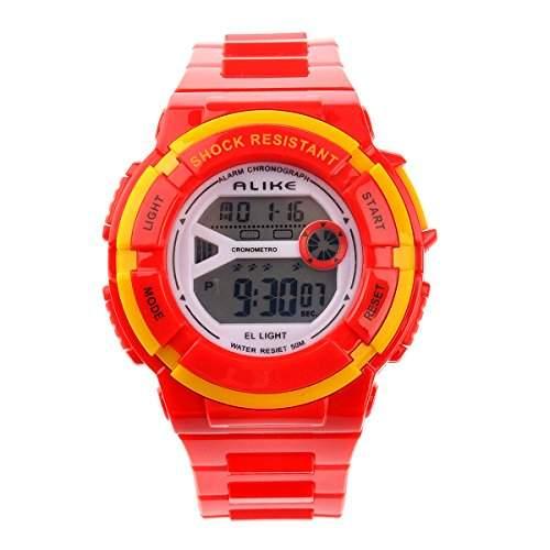 Foxnovo Gleichermassen A14103 wasserdichte Studenten Kinder Digital LED Sport Armbanduhr mit Datum Alarm Stoppuhr rot