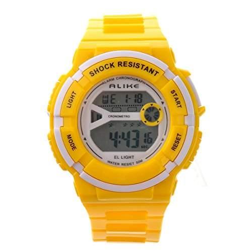 Foxnovo Gleichermassen A14103 wasserdichte Studenten Kinder Digital LED Sport Armbanduhr mit Datum Alarm Stoppuhr gelb