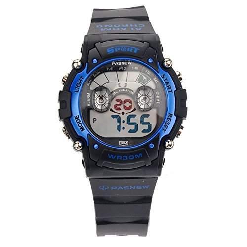 Foxnovo PASNEW PSE-278B wasserdichte Kinder jungen Maedchen LED Digital Sport Uhr mit Datum Alarm Stoppuhr Blau + Schwarz