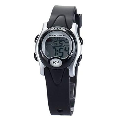 Foxnovo PASNEW PSE-243 wasserdichte Kinder jungen Maedchen LED digitale Sport-Armbanduhr mit DatumWoche Alarm Stoppuhr Schwarz