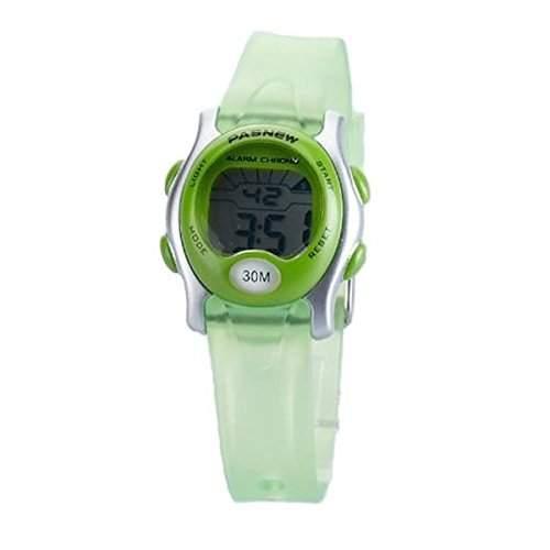 Foxnovo PASNEW PSE-243 wasserdichte Kinder jungen Maedchen LED digitale Sport-Armbanduhr mit DatumWoche Alarm Stoppuhr Gruen
