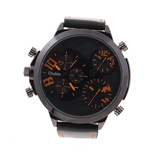 Foxnovo Oulm Maenner Boys Big Round Dial drei Mal Orange