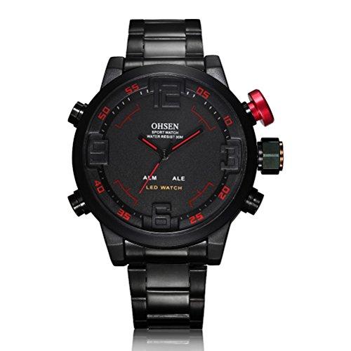 Foxnovo OHSEN wasserdicht Herren jungen LED Digital Dualzeit Anzeige Sport Armbanduhr mit Alarm Black Red