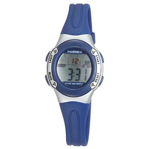 Foxnovo wasserdichte Kinder jungen Maedchen LED Digital Sport Uhr blau