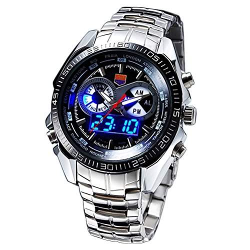 Foxnovo-TVG 100M wasserdicht Dualzeit Anzeige Sport Digital Quarz Herrenuhr mit LED LightBlack