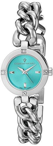 Christian Van Sant Damen cv0212 Schwuel Analog Display Swiss Quartz Silber Uhr