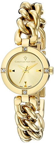 Christian Van Sant Damen cv0215 Schwuel Analog Display Swiss Quarz Gold Armbanduhr