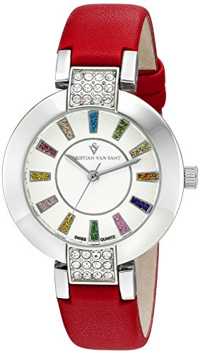 Christian Van Sant Damen cv0440 Celine Analog Display Swiss Quarz rot Armbanduhr