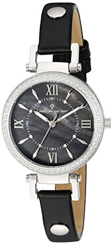 Christian Van Sant Damen cv8134 Petite Analog Display Swiss Quartz Black Watch