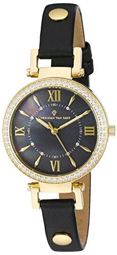 Christian Van Sant Damen cv8136 Petite Analog Display Swiss Quartz Black Watch