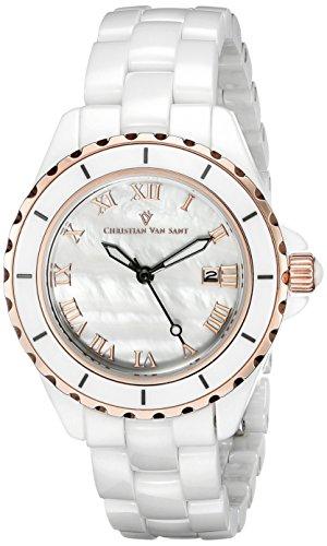 Christian Van Sant Damen cv9412 Analog Anzeige Quarz weiss Armbanduhr