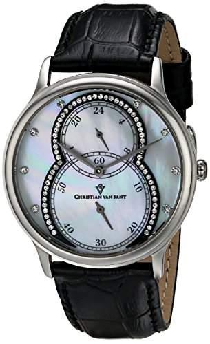 Christian Van Sant Damen-Armbanduhr 38mm Armband Synthetikleder Schwarz Gehäuse Edelstahl Quarz CV5410
