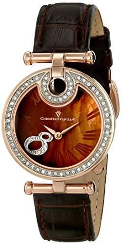 Christian Van Sant Damen CV6411 Glamour Analog Display Quartz Brown Armbanduhr