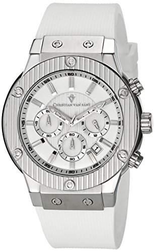 Christian Van Sant Herren-Armbanduhr 43mm Armband Kautschuk Weiß Gehäuse Edelstahl Quarz Analog CV8121