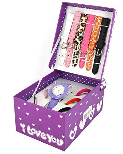 Armbanduhr Geschenk Set fuer kleine Maedchen mit passenden und zusaetzlichen Uhrenarmbaendern Farben der Box und Armbaender koennen variieren