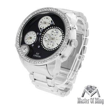 Weiss Gold Ton Armbanduhr XL Big schwarz Zifferblatt Herren Lab Diamant Wasser widerstehen Stahl Fall